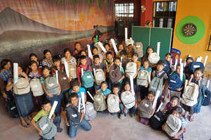 Sponsorship students from Panabaj with supplies
