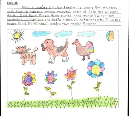 Dorcas' drawing shows her family's pets