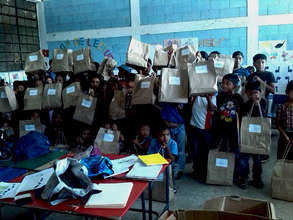 Students in Chacaya with their school supplies