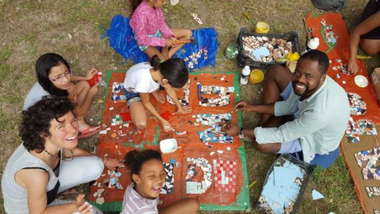Kids helping with the mosaic