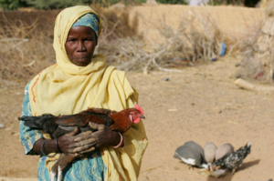 Igue Moussa with one of her new chickens