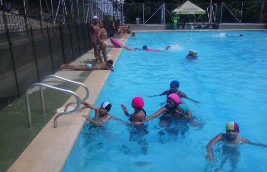Having fun at the pool party!