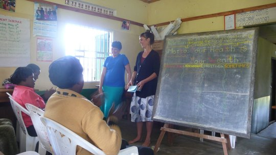 Tali and Lila teaching their class