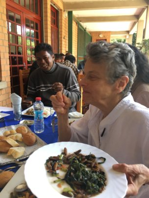 CPALI President enjoys pupae and greens