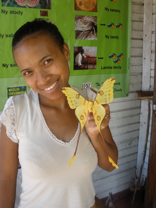 Lalaina with Malagasy Comet Moth