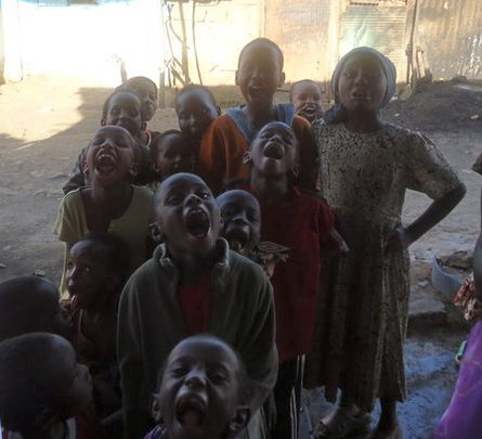 Some of the children who received dental care