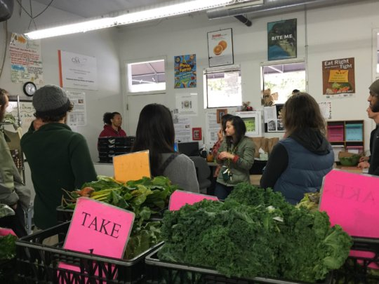 LaDrea, in the far corner, talks to HV interns