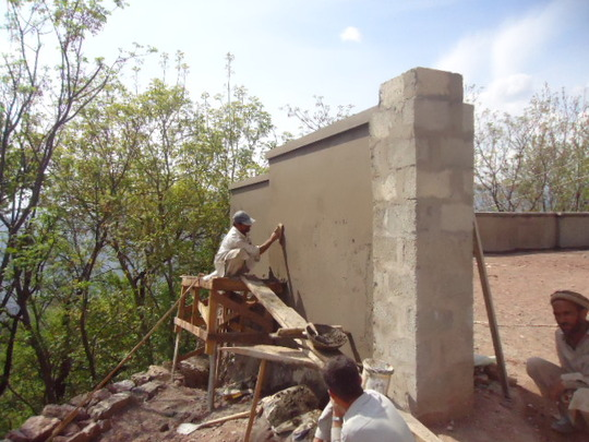 Work on the boundary wall in progress