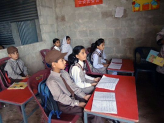 Jabri students wait for their new building