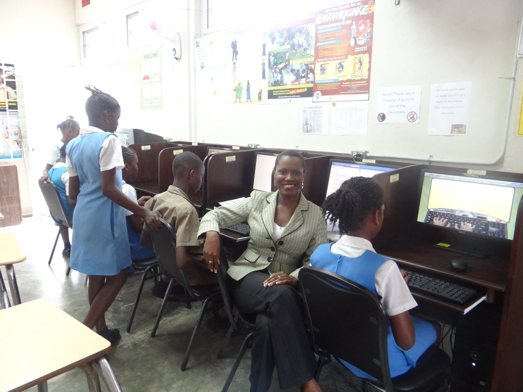 CEF President with Students in the Computer Area