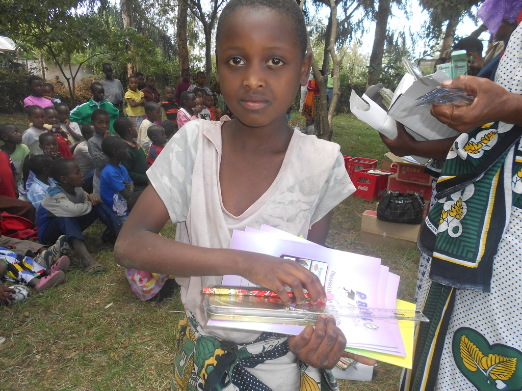 A girl with new school books
