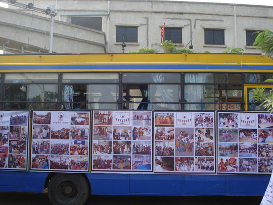 The Shaishav Bus, decorated for Child Rights Week