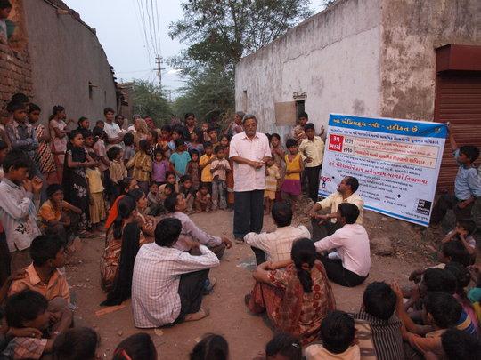 Shaishav staff teach communities about the RTE Act